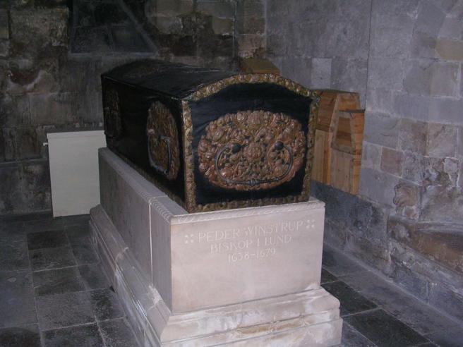 El féretro del Obispo de Lund que se guarda en la catedral