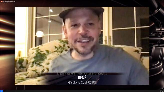 Residente , que recibió el premio a la canción del año por 'René',agradeciéndolo y reflexionando sobre la importancia de la cultura y el arte durante la velada de los Grammy