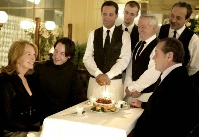 Diane Keaton, con  Keanu Reeves y Jack Nicholson en 'Cuando menos te lo esperas'